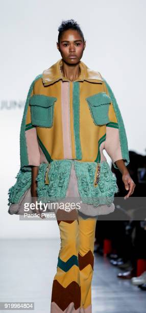 Model walks runway for Son Jung Wan Fall/Winter 2018 runway show during NY Fashion Week at Spring Studios, Manhattan.