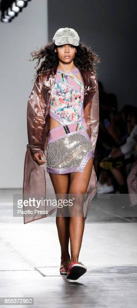 A model walks runway for the Custo Barcelona Spring/Summer 2018 runway show during New York Fashion Week at Pier 59 Studios at Chelsea Piers Manhattan