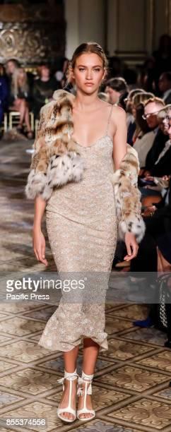 A model walks runway for the Dennis Basso Spring/Summer 2018 runway show during New York Fashion Week at Plaza Hotel Grand Ballroom Manhattan