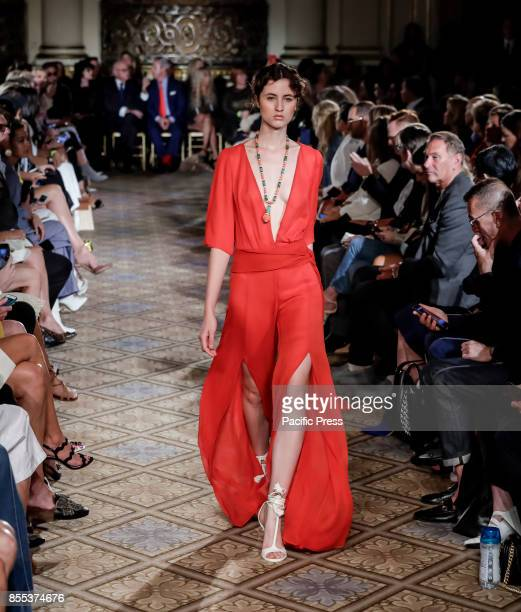 A model walks runway for the Dennis Basso Spring/Summer 2018 runway show during New York Fashion Week at Plaza Hotel Grand Ballroom Manhattan