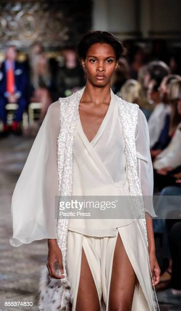 Model walks runway for the Dennis Basso Spring/Summer 2018 runway show during New York Fashion Week at Plaza Hotel - Grand Ballroom, Manhattan.