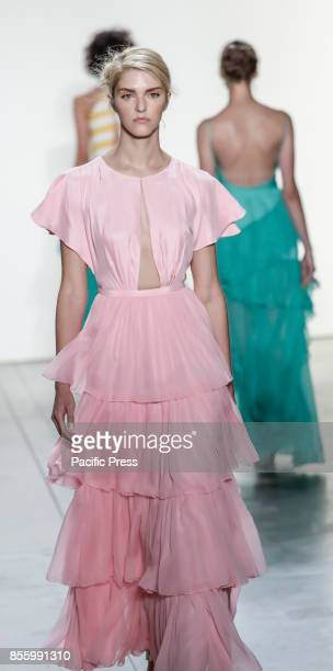A model walks runway for the Leanne Marshall Spring/Summer 2018 runway show during New York Fashion Week at Skylight Clarkson Sq Manhattan