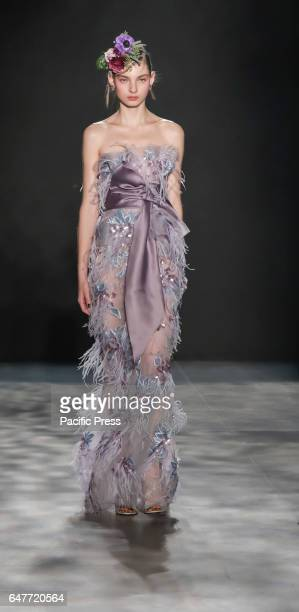 A model walks runway for the Marchesa FW17 collection by Georgina Chapman and Keren Craig runway show during New York Fashion Week at Skylight...