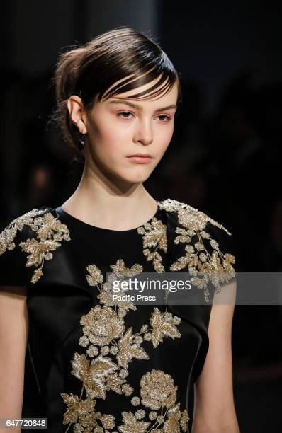Model walks runway for the Marchesa FW17 collection by Georgina Chapman and Keren Craig runway show during New York Fashion Week at Skylight Clarkson...