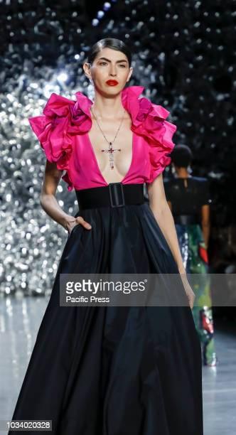 A model walks runway for the Naeem Khan Spring/Summer 2019 runway show during New York Fashion Week at Spring Studios Manhattan