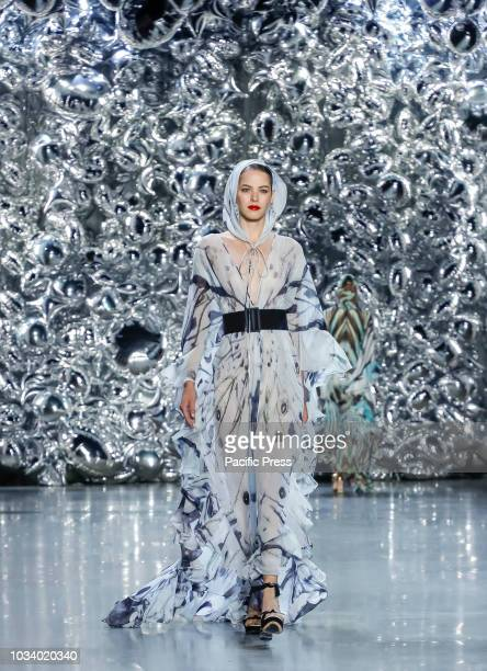A model walks runway for the Naeem Khan Spring/Summer 2019 runway show during New York Fashion Week at Spring Studios Manhattan