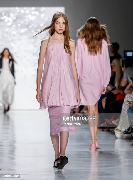 Model walks runway for the Noon by Noor Spring/Summer 2018 runway show during New York Fashion Week at Skylight Clarcson Sq Manhattan