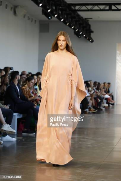 A model walks runway for the Noon by Noor Spring/Summer 2019 runway show during New York Fashion Week at Spring Studios Manhattan