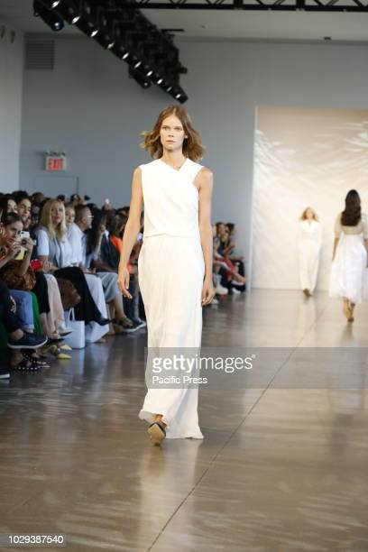 Model walks runway for the Noon by Noor Spring/Summer 2019 runway show during New York Fashion Week at Spring Studios, Manhattan.