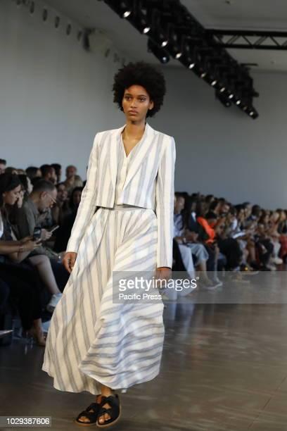 Model walks runway for the Noon by Noor Spring/Summer 2019 runway show during New York Fashion Week at Spring Studios, Manhattan.