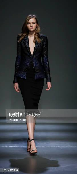 A model walks runway for the Pamella Roland Fall/Winter 2018 runway show during New York Fashion Week at Pier 59 Studuos Manhattan