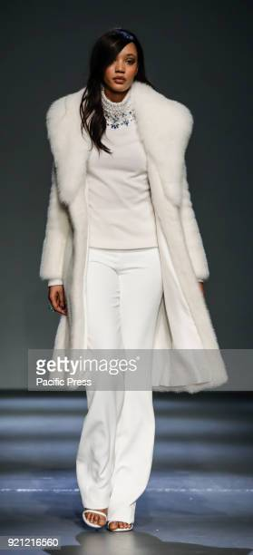 Model walks runway for the Pamella Roland Fall/Winter 2018 runway show during New York Fashion Week at Pier 59 Studuos, Manhattan.