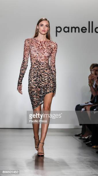 A model walks runway for the Pamella Roland Spring/Summer 2017 runway show during New York Fashion Week at Pier 59 Studios at Chelsea Piers Manhattan
