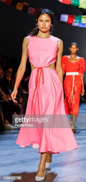 A model walks runway for the Prabal Gurung Spring/Summer 2019 runway show during New York Fashion Week at Spring Studios Manhattan