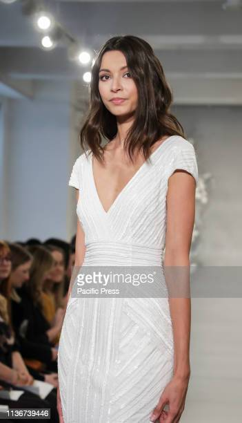 Model walks runway for the Theia Bridal Spring 2020 collection during New York Bridal Week at the Theia Showroom, Manhattan.