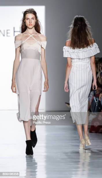 Model walks runway for the Vivienne Hu Spring/Summer 2018 runway show during New York Fashion Week at Skylight Clarkson Sq., Manhattan.