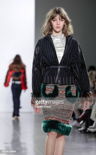 A model walks runway for Vivienne Hu Fall/Winter 2018 runway show during NY Fashion Week