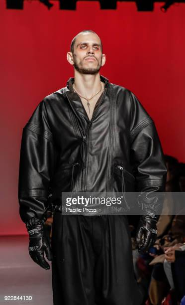 Model walks runway for Willy Chavarria Fall/Winter 2018 runway show during NY Fashion Week for men at Pier 59 Studios.