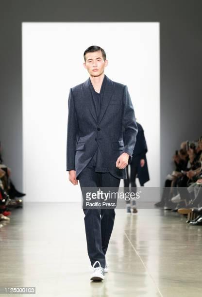 Model walks runway for Zang Toi Fall/Winter collection during New York Fashion Week at Spring Studios.