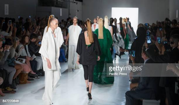 Model walks runway for Zang Toi fashion show during New York Fashion Week Spring/Summer 2018 at Skylight Clarkson