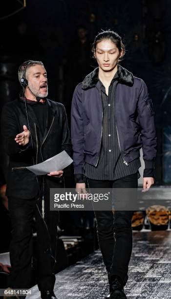 A model walks runway rehearsal for John Varvatos FW17 runway show during NY Fashion Week Men's at Paramaunt Hotel Manhattan