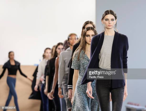 A model walks runway rehearsal for Leanne Marshall Fall/Winter 2018 runway show during New York Fashion Week at Spring Studios Manhattan