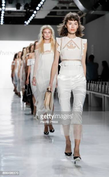 A model walks runway rehearsal for the Vivienne Hu Spring/Summer 2018 runway show during New York Fashion Week at Skylight Clarkson Sq Manhattan