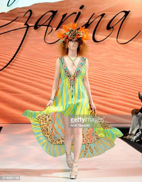 Model walks runway wearing Czarina with headdress by What A Betty at Art Hearts Fashion LAFW Fall/Winter 2016 at Taglyan Cultural Complex on March 16...
