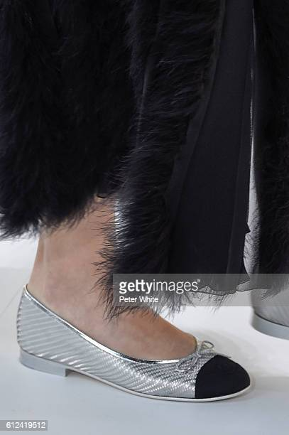 A model walks shoes detail the runway during the Chanel show as part of the Paris Fashion Week Womenswear Spring/Summer 2017 on October 4 2016 in...