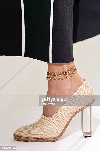 A model walks shoes detail the runway during the Hermes show as part of the Paris Fashion Week Womenswear Spring/Summer 2017 on October 3 2016 in...