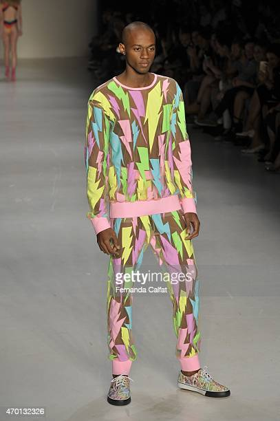 A model walks the Amapo Runway at SPFW Summer 2016 at Parque Candido Portinari on April 17 2015 in Sao Paulo Brazil