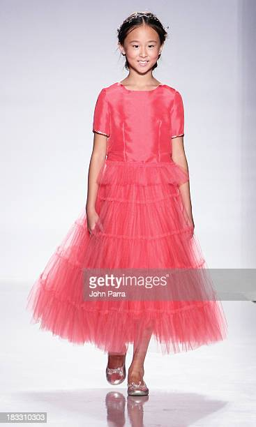 Model walks the at the Junior Gaultier Couture preview during the Swarovski at petiteParade NY Kids Fashion Week in Collaboration with VOGUEbambini...