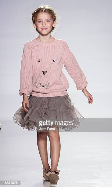 A model walks the at the Lili Gaufrette preview during the Swarovski at petiteParade NY Kids Fashion Week in Collaboration with VOGUEbambini on...