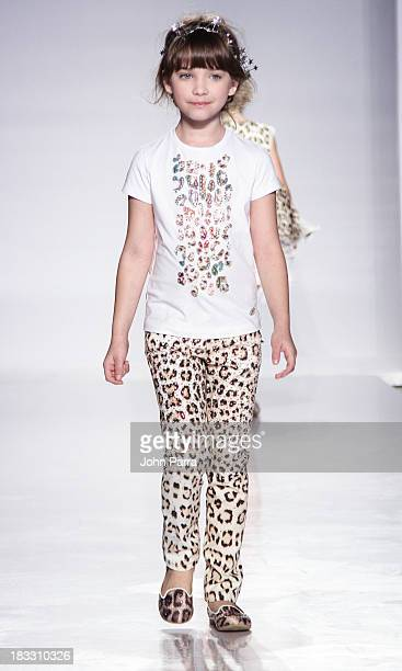 A model walks the at the Roberto Cavalli Junior preview during the Swarovski at petiteParade NY Kids Fashion Week in Collaboration with VOGUEbambini...