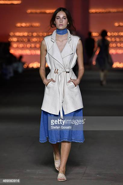 A model walks the catwalk at the AJE show at MercedesBenz Fashion Week Australia 2015 at Carriageworks on April 13 2015 in Sydney Australia