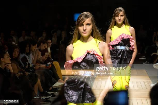A model walks the catwalk at the Aleksandar Protic show during Lisboa Fashion Week 'ModaLisboa' 2018 on October 13 2018 in Lisbon Portugal