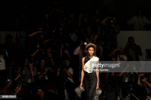 A model walks the catwalk at the Aleksandar Protic show during Lisboa Fashion Week 'ModaLisboa' 2017