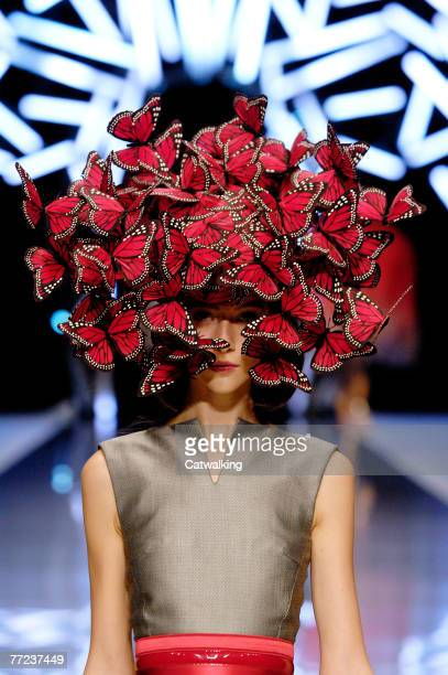 A model walks the catwalk at the Alexander McQueen collection show spring summer 2008 part of Paris Fashion Week at POPB on October 5 2007 in Paris...