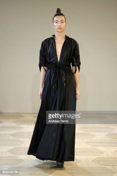 A model walks the catwalk at the Isabel Vollrath Defile during 'Der Berliner Salon' AW 18/19 at Kronprinzenpalais on January 18 2018 in Berlin Germany