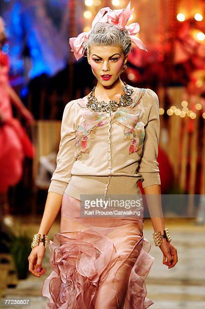 A model walks the catwalk at the John Galliano fashion show during the Spring/Summer 2008 readytowear collection show part of Paris Fashion Week at...