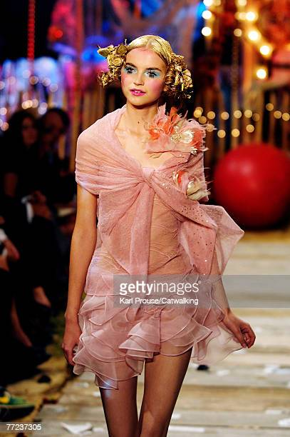 Model walks the catwalk at the John Galliano fashion show during the Spring/Summer 2008 ready-to-wear collection show part of Paris Fashion Week at...