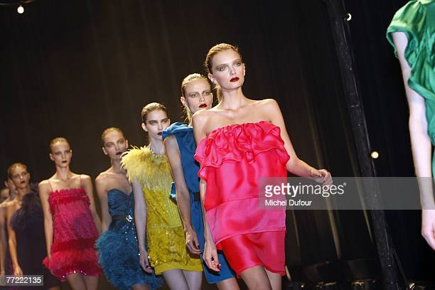 A model walks the catwalk at the Lanvin fashion show during the Spring/Summer 2008 readytowear collection show at Espace Jardins du Louvres on...