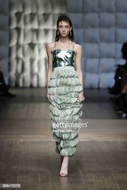 A model walks the catwalk at the Marina Hoermanseder Defile during 'Der Berliner Salon' AW 18/19 at Von Greifswald on January 18 2018 in Berlin...