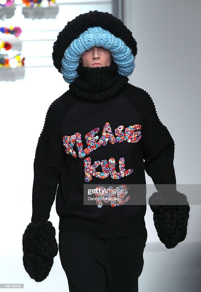 A model walks the catwalk at the Sibling show at the London Collections: MEN AW13 at The Hospital Club on January 8, 2013 in London, England.