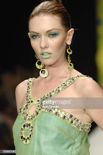 Model walks the catwalk at the Sue Wong Spring 2008 fashion show during Mercedes Benz Fashion Week held at Smashbox Studios on October 14, 2007 in...