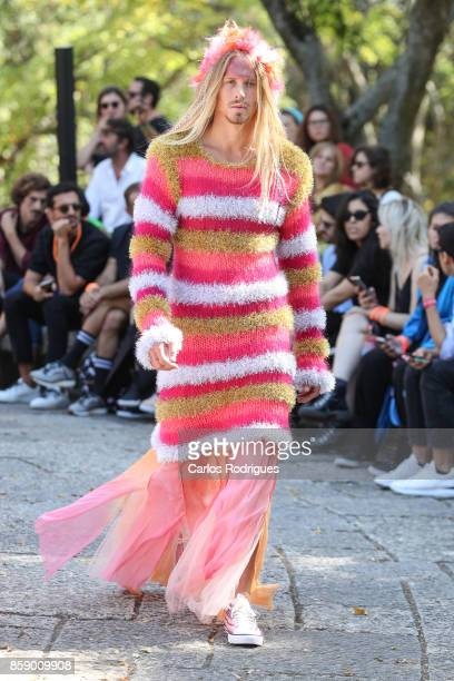 Model walks the catwalk during Morecco runway show on October 8 2017 in Lisboa CDP Portugal