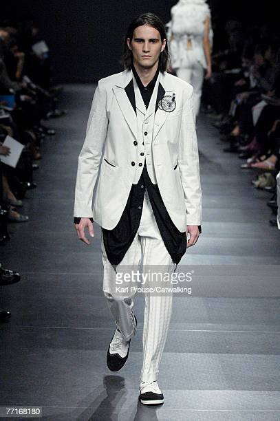 A model walks the catwalk during the Anne Demeulemeester collection show part of Paris Fashion Week Spring Summer 2008 on October 2 2007 in Paris...