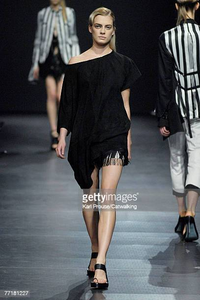 Model walks the catwalk during the Anne Demeulemeester collection show part of Paris Fashion Week Spring Summer 2008 on October 2, 2007 in Paris,...
