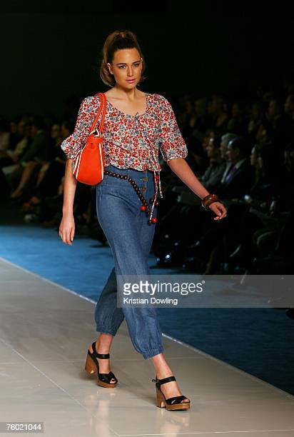 A model walks the catwalk during the Arabella Ramsay collection show as part of the Myer Spring/Summer Collection Launch at the Carriageworks on...