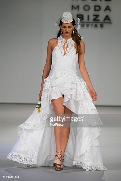 Model walks the catwalk during the bridal fashion designer Adlib Moda Ibiza Novias show during the Pasarela Costura held at the Cibeles Palace on 19...